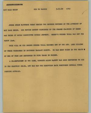 Primary view of object titled '[News Script: Roy Dale Green]'.
