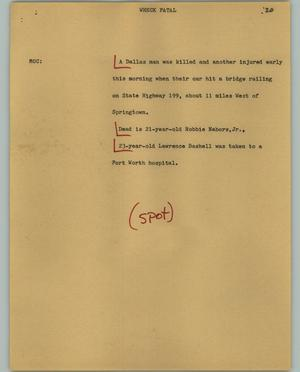 Primary view of object titled '[News Script: Wreck fatal]'.
