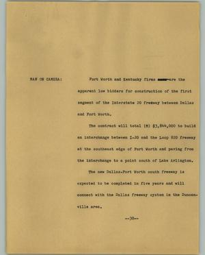 Primary view of object titled '[News Script: Road contracts]'.