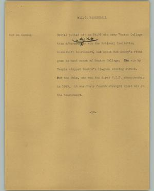 Primary view of object titled '[News Script: N.I.T. Basketball]'.