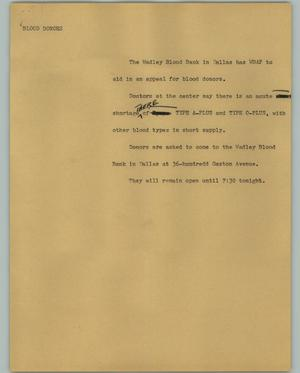 Primary view of object titled '[News Script: Blood donors]'.