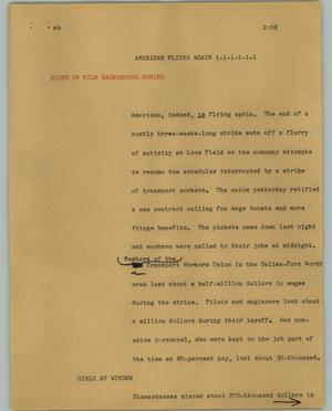 Primary view of object titled '[News Script: American flying again]'.