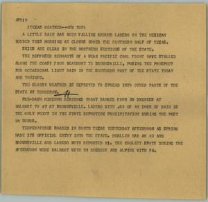 Primary view of object titled '[News Script: Texas weather]'.
