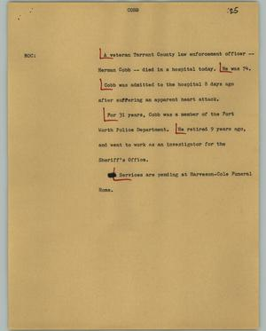 Primary view of object titled '[News Script: Cobb]'.