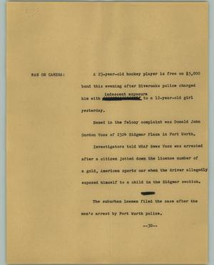 Primary view of object titled '[News Script: Voss released]'.