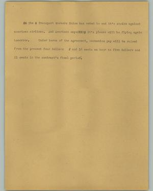 Primary view of object titled '[News Script: Transport Workers Union]'.