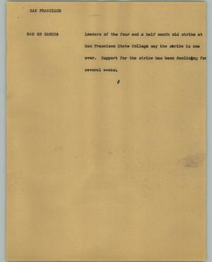 Primary view of object titled '[News Script: San Francisco]'.