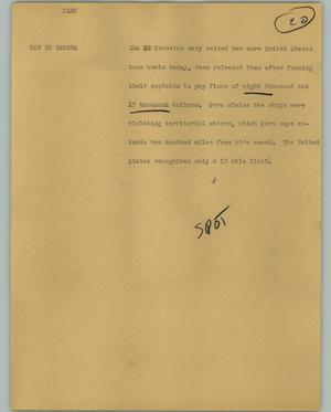 Primary view of object titled '[News Script: Peru]'.