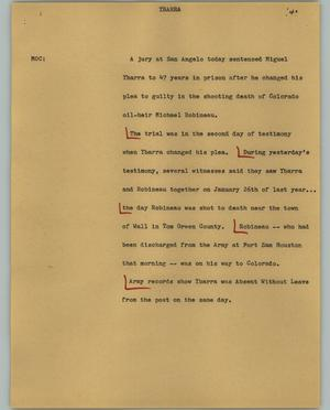 Primary view of object titled '[News Script: Ybarra]'.