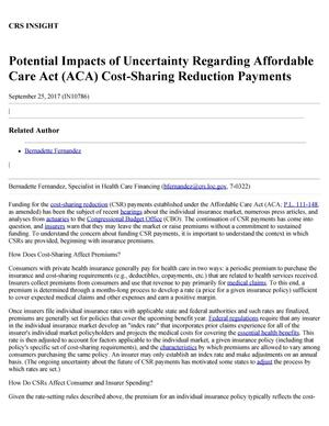 Primary view of object titled 'Potential Impacts of Uncertainty Regarding Affordable Care Act (ACA) Cost-Sharing Reduction Payments'.