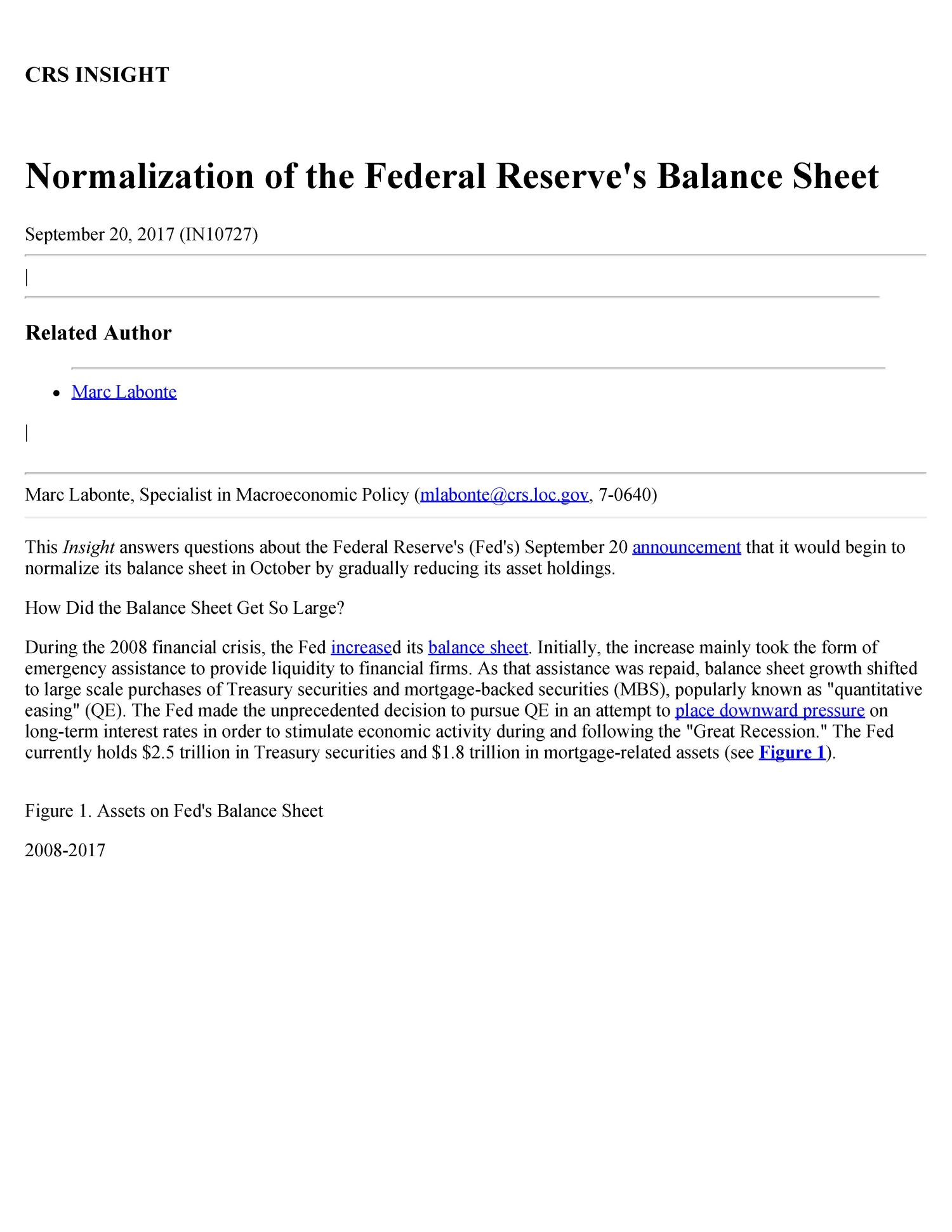 Normalization of the Federal Reserve's Balance Sheet                                                                                                      [Sequence #]: 1 of 3