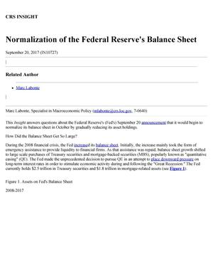 Primary view of object titled 'Normalization of the Federal Reserve's Balance Sheet'.