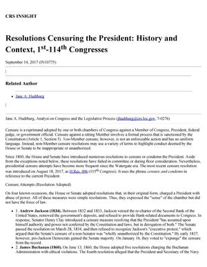 Primary view of object titled 'Resolutions Censuring the President: History and Context, 1st-114th Congresses'.