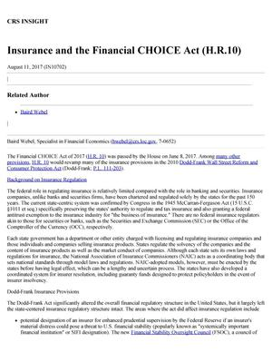 Primary view of object titled 'Insurance and the Financial CHOICE Act (H.R. 10)'.