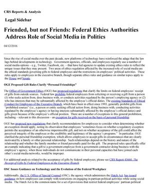 Primary view of object titled 'Friended but not Friends: Federal Ethics Authorities Address Role of Social Media in Politics'.