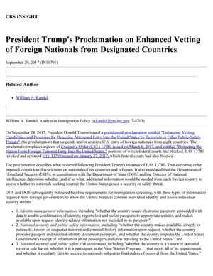 Primary view of object titled 'President Trump's Proclamation on Enhanced Vetting of Foreign Nationals from Designated Countries'.