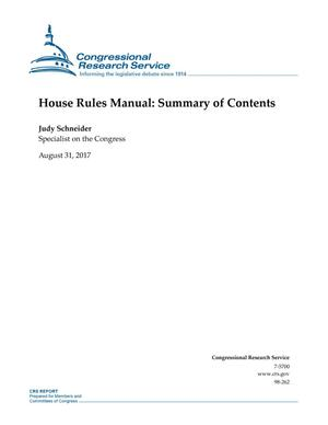 Primary view of object titled 'House Rules Manual: Summary of Contents'.