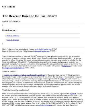 Primary view of object titled 'The Revenue Baseline for Tax Reform'.