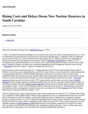 Primary view of object titled 'Rising Costs and Delays Doom New Nuclear Reactors in South Carolina'.