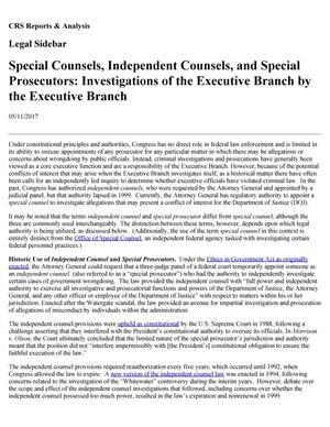 Primary view of object titled 'Special Counsels, Independent Counsels, and Special Prosecutors: Investigations of the Executive Branch by the Executive Branch'.
