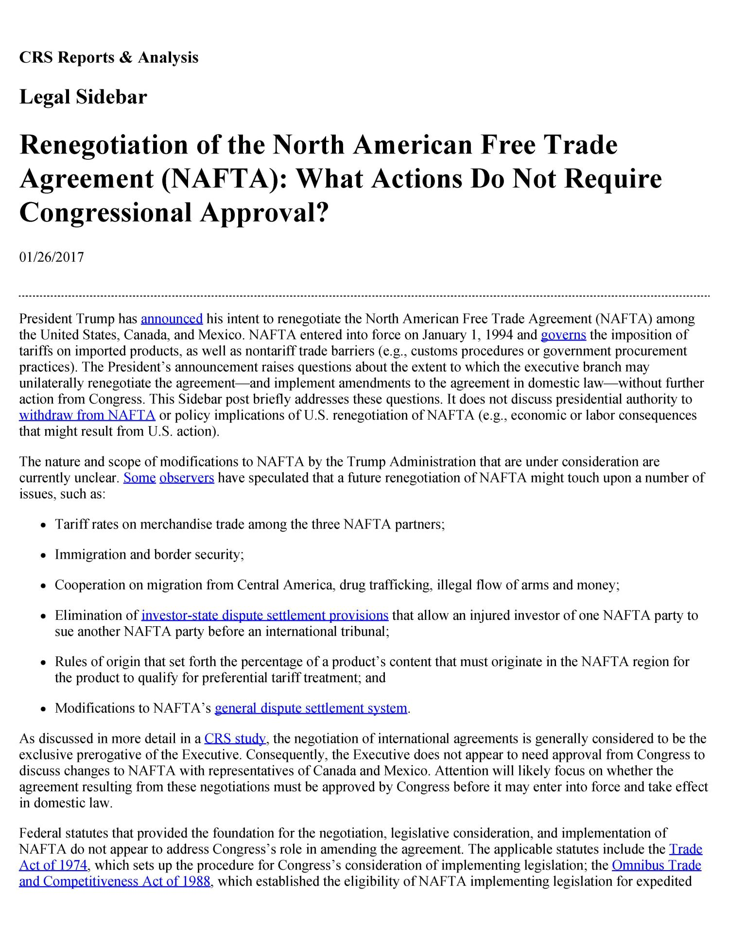 Renegotiation Of The North American Free Trade Agreement Nafta