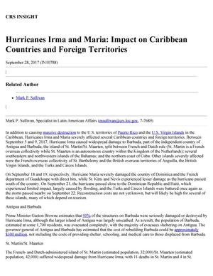 Primary view of object titled 'Hurricanes Irma and Maria: Impact on Caribbean Countries and Foreign Territories'.
