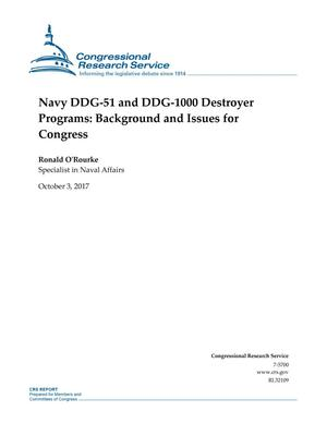 Primary view of object titled 'Navy DDG-51 and DDG-1000 Destroyer Programs: Background and Issues for Congress'.