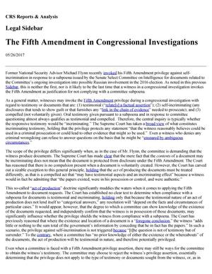 Primary view of object titled 'The Fifth Amendment in Congressional Investigations'.