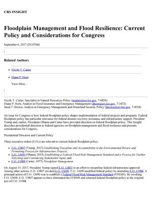 Primary view of object titled 'Floodplain Management and Flood Resilience: Current Policy and Considerations for Congress'.