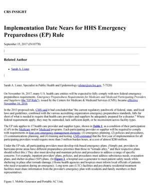 Primary view of object titled 'Implementation Date Nears for HHS Emergency Preparedness (EP) Rule'.