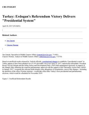 "Primary view of object titled 'Turkey: Erdogan's Referendum Victory Delivers ""Presidential System""'."