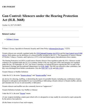 Primary view of object titled 'Gun Control: Silencers Under the Hearing Protection Act (H.R. 3668)'.