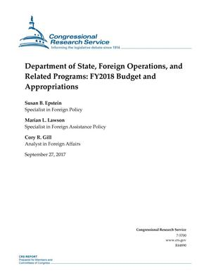 Primary view of object titled 'Department of State, Foreign Operations, and Related Programs: Fiscal Year 2018 Budget and Appropriations'.