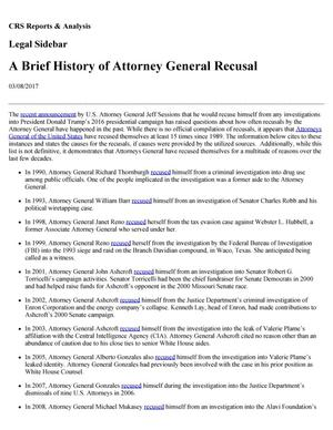Primary view of object titled 'A Brief History of Attorney General Recusal'.