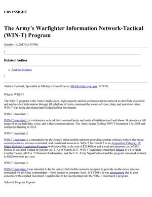 Primary view of The Army's Warfighter Information Network-Tactical (WIN-T) Program