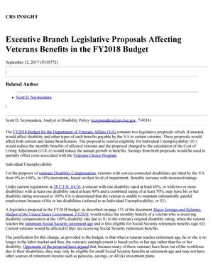 Primary view of object titled 'Executive Branch Legislative Proposals Affecting Veterans Benefits in the Fiscal Year 2018 Budget'.