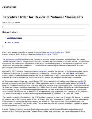Primary view of object titled 'Executive Order for Review of National Monuments'.