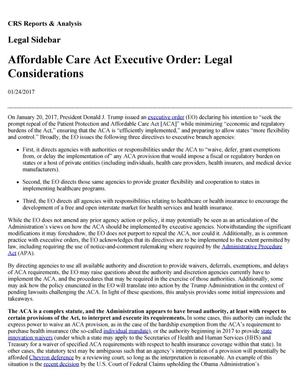 Primary view of object titled 'Affordable Care Act Executive Order: Legal Considerations'.