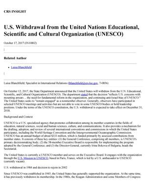 Primary view of object titled 'U.S. Withdrawal from the United Nations Educational, Scientific, and Cultural Organization (UNESCO)'.