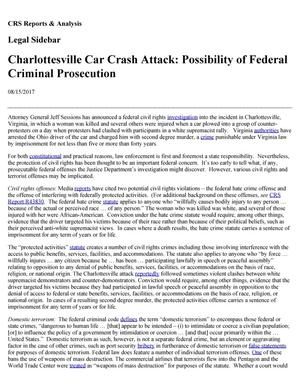 Primary view of object titled 'Charlottesville Car Crash Attack: Possibility of Federal Criminal Prosecution'.
