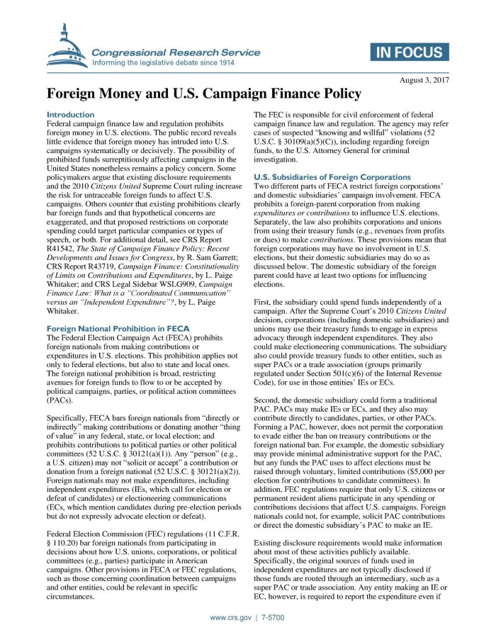 campaign finance research paper