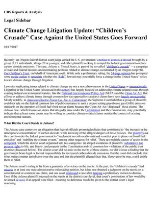 "Primary view of object titled 'Climate Change Litigation Update: ""Children's Crusade"" Case Against the United States Goes Forward'."