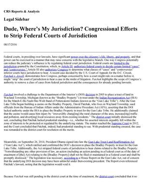 Primary view of object titled 'Dude, Where's My Jurisdiction? Congressional Efforts to Strip Federal Courts of Jurisdiction'.