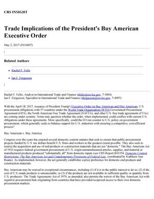 Primary view of object titled 'Trade Implications of the President's Buy American Executive Order'.