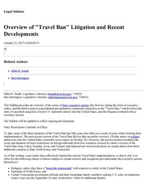 "Primary view of object titled 'Overview of ""Travel Ban"" Litigation and Recent Developments'."