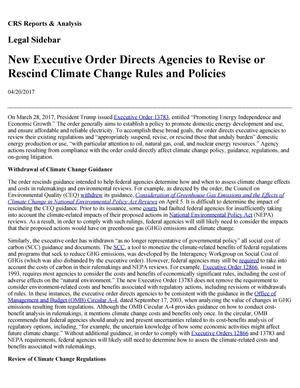 Primary view of object titled 'New Executive Order Directs Agencies to Revise or Rescind Climate Change Rules and Policies'.