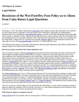 Primary view of object titled 'Rescission of the Wet-Foot/Dry-Foot Policy as to Aliens from Cuba Raises Legal Questions'.