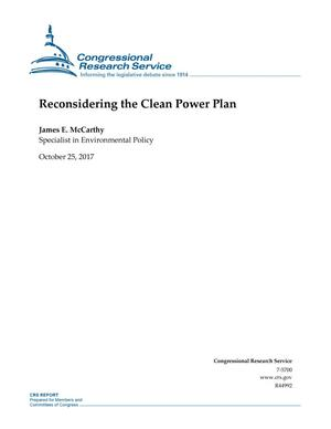Primary view of object titled 'Reconsidering the Clean Power Plan'.
