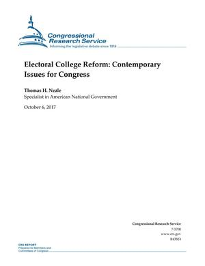 Primary view of object titled 'Electoral College Reform: Contemporary Issues for Congress'.