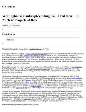 Primary view of object titled 'Westinghouse Bankruptcy Filing Could Put New U.S. Nuclear Projects at Risk'.